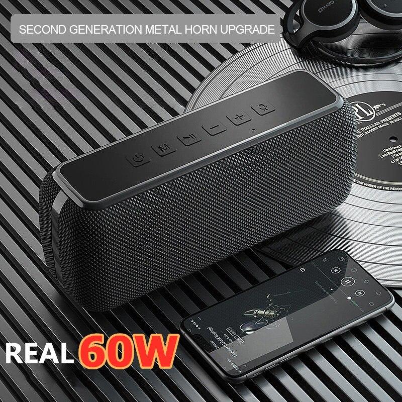 TWS Subwoofer Soundbar 60W High Power Portable Bluetooth Speaker  Outdoor Waterproof DSP Bass Music Column Support TF Card AUX